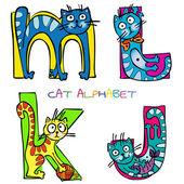 猫のアルファベット j k l m — ストックベクタ