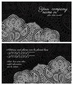 Paisley lace black business card — Stock Vector