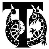 Gargoyle decorating capital letter T — Stock Vector