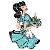 Empregada de mesa retrô traz ordem de cerveja — Vetor de Stock