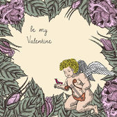 Valentine card with cupid — Stok Vektör