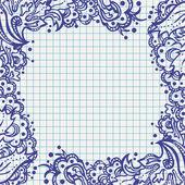 Ballpen floral frame on school notebook paper — Stock Vector