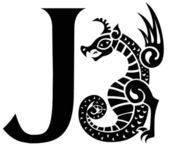 Capital letter J with gargoyle — Stock Vector