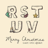 Retro christmas alphabet - r, s, t, u, v — Stock Vector
