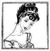 Pin-up girl portrait — Stock Vector