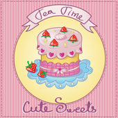 Cute cake card — Stock Vector