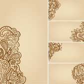 Set of henna tattoo floral banners — Vettoriale Stock