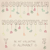 Be my valentine alphabet — Stock Vector