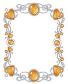 Fantasy jewel frame template, silver and ember — Stock Vector