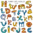 Funny cats doodles set, color — Stock Vector