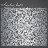 Antique style seamless border of silver foil — Stock Vector