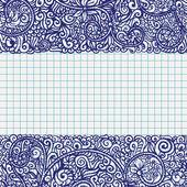 Pen drawn frame in school notebook paper — Stock Vector