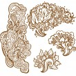 Set of henna tattoo floral ornaments — Stock Vector