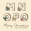 Retro christmas alphabet - n, m, o, p, q — Stock Vector