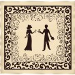Valentine couple in retro style on parchment — Stockvectorbeeld