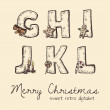 Retro christmas alphabet - g, h, j, k, l, i — Stock Vector #26996313