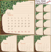 2014 year calendar, months in green tree frame — Stock Vector
