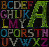 Psychedelic acid color alphabet — Stock Vector