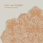 Linen orange brocade card template — Stock Vector