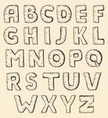 Sketch alphabet, vintage engraving style — Stock Vector