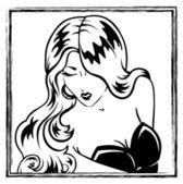 Erotic pin-up blonde girl portrait — Stock Vector