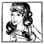 Pin-up aviation girl portrait — Stock Vector