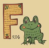 F grenouille alphabet style folk lubok russe — Vecteur