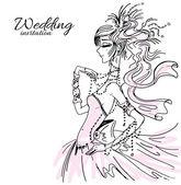 Wedding invitation, bride in pink — Stock Vector
