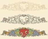 Set of renaissance heart borders — Stock Vector