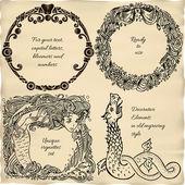Vintage engraved frame vignettes — Stock Vector