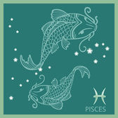 Pisces zodiac sign, constellation — Stock Vector