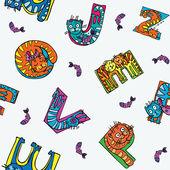 Cat alphabet seamless pattern — Stock Vector