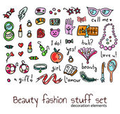 Fashion and beauty women accessories elements set — Stock Vector