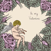 Valentine card with cupid and roses — Vetor de Stock