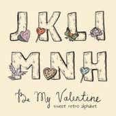 Retro Valentine alphabet - j, k, l, m, n, h — Stock Vector