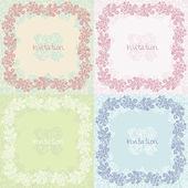 Ornate floral invitation cards set — Stock Vector