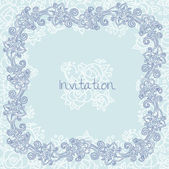 Floral invitation card template, blue colors with rose flowers — Stock Vector