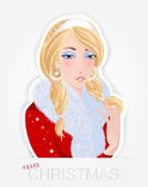 Beautiful glamour Santa girl - for the vector file please search in the portfolio. — Stock Vector
