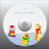Christmas cats, design for cd cover — Stock Vector