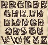 Gothic alphabet with gargoyls — Stock Vector