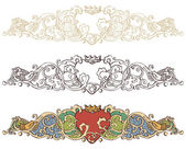 Set of renaissance crowned heart borders — Stock Vector