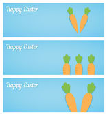 Easter banners with carrots on blue — Stock Vector