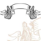 Vector engraved banner ribbon — Stock Vector