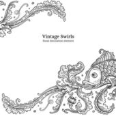 élément décoratif de vecteur poisson gravé — Vecteur