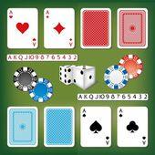 Set de juegos de azar con cartas, dados, números y fichas de casino — Vector de stock
