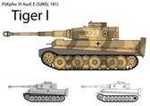 German WW2 Tiger I heavy tank — Stock Vector