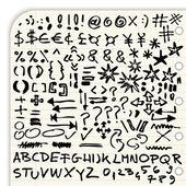 Elle çizilmiş sembolleri, noktalama işaretleri, oklar ve beyaz arka plan üzerinde izole tam yazı seti — Stok Vektör
