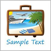 Summer beach with towels, palm trees, a ship and an airplane all inside a suitcase — Stock Vector