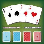 Vector poker card set with numbers and backside decorations in different colors — Stock Vector