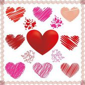 Collection of vector hearts in different color and fill — Stock Vector